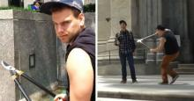ამერიკელი მამაკაცი ტურისტებს დასდევს და სელფის ჯოხს მაკრატლით უჭრის(ვიდეო)