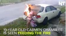 გოგონას შეეშალა და ყოფილი შეყვარებულის მაგივრად სხვის ავტომობილს წაუკიდა ცეცხლი(ვიდეო)