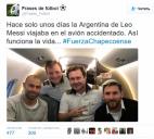 ლიონელ მესიმ კოლუბიაში ჩამოვარდნილ თვითმფრინავში გადაღებული სელფი გამოაქვეყნა